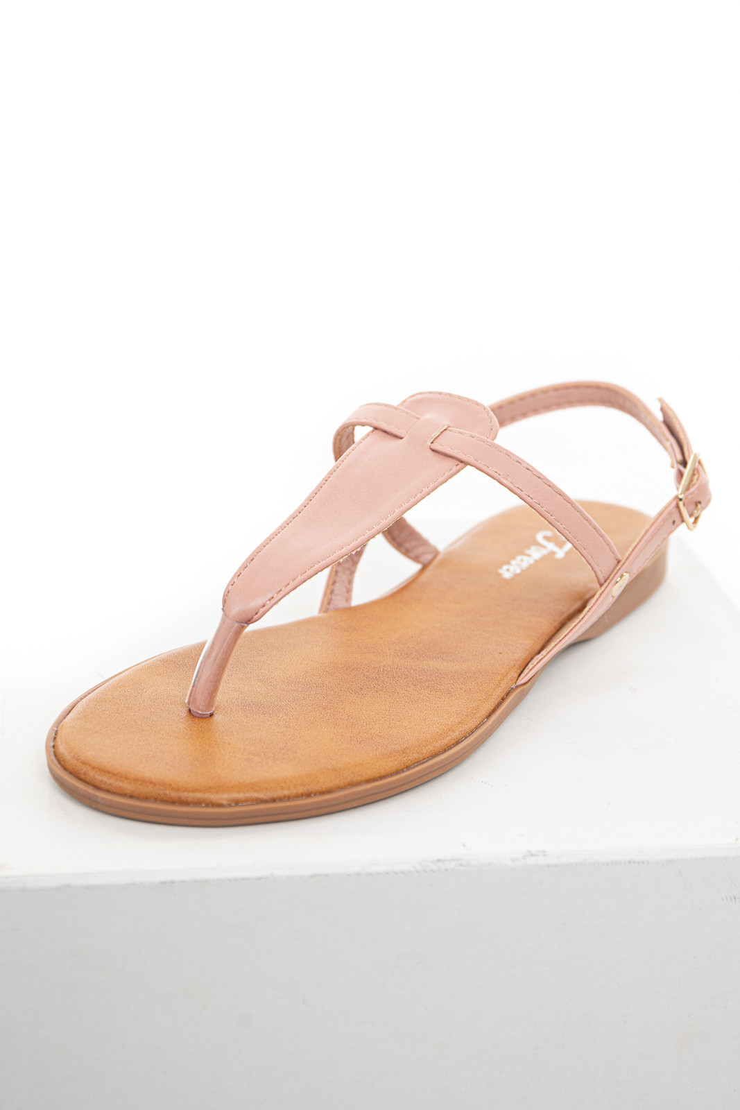 Dusty Blush Flat Strappy Thong Sandals with Buckle Closure
