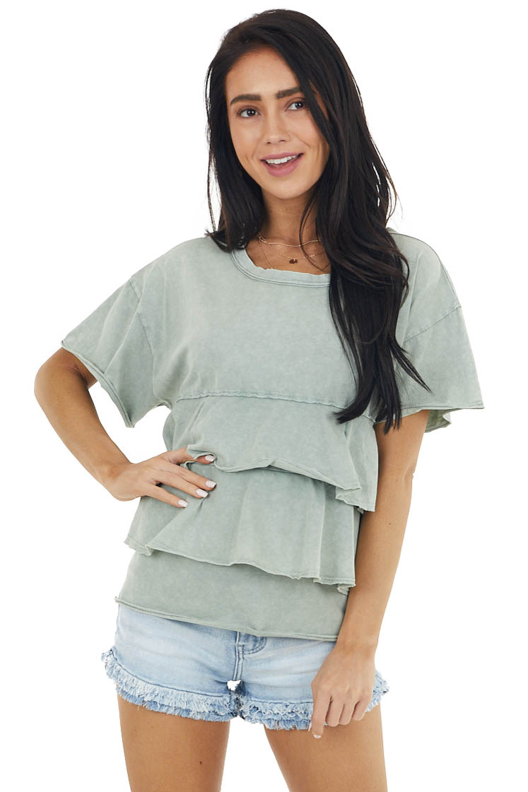 Sage Mineral Washed Babydoll Short Sleeve Tiered Knit Tee