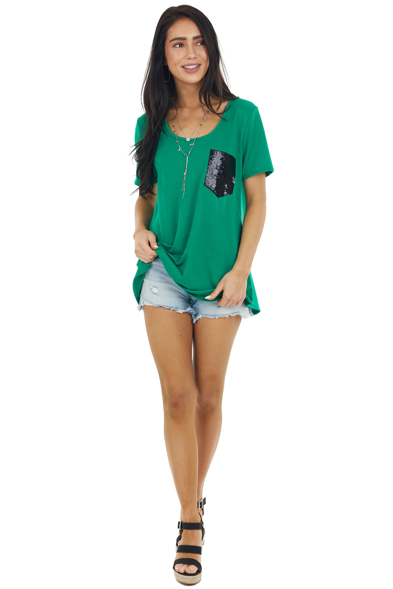 Kelly Green Short Sleeve Knit Top With Sequin Pocket Detail