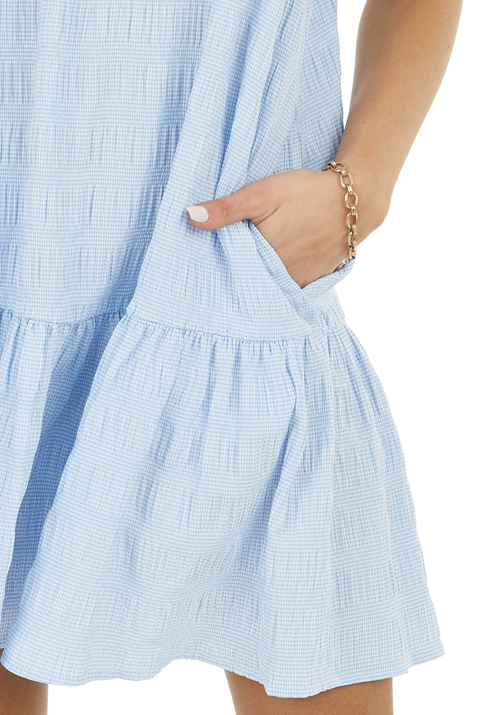 Powder Blue and White Gingham Dress with Tie Straps