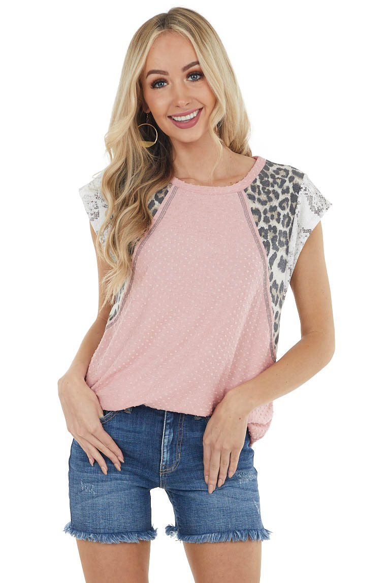 Dusty Blush Swiss Dot Knit Top with Multiprint Short Sleeves