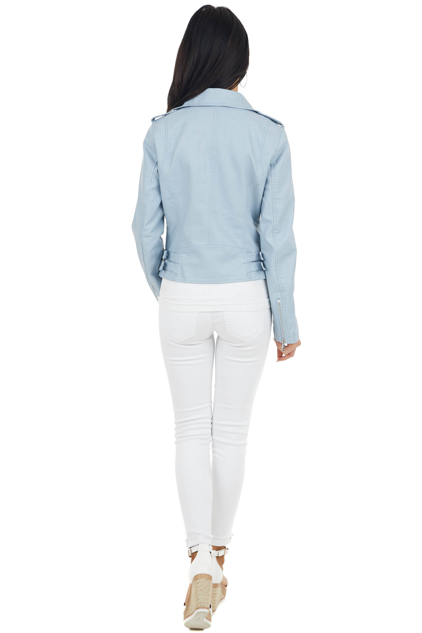 Powder Blue Faux Leather Moto Jacket with Pocket Details
