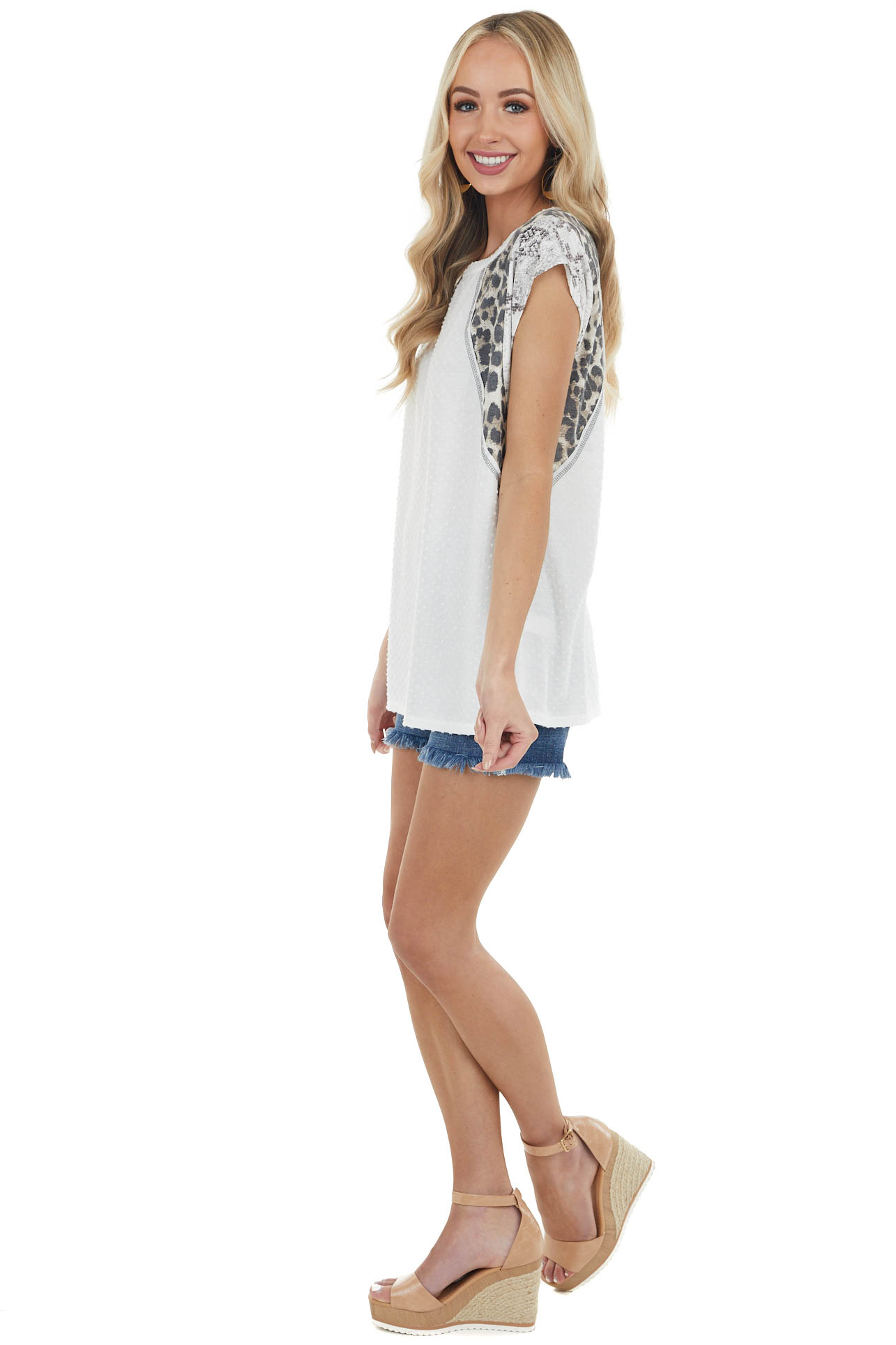 Ivory Swiss Dot Knit Top with Multiprint Short Sleeves
