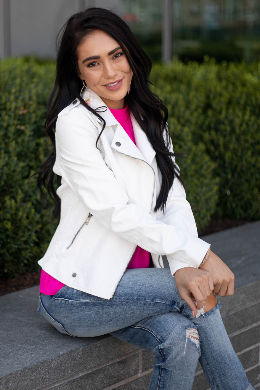 Ivory Faux Leather Moto Jacket with Smocked Detail
