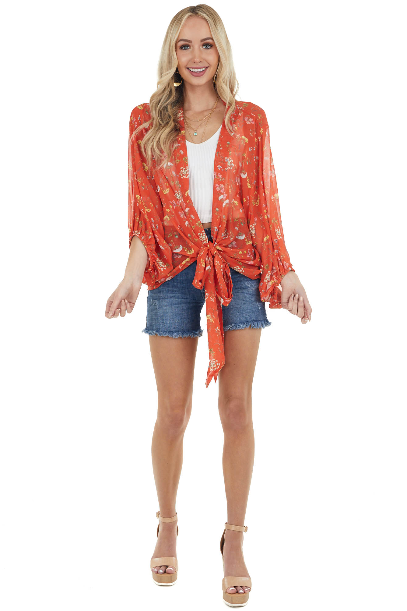 Rust Floral Print Woven Wrapped Blouse with Tie