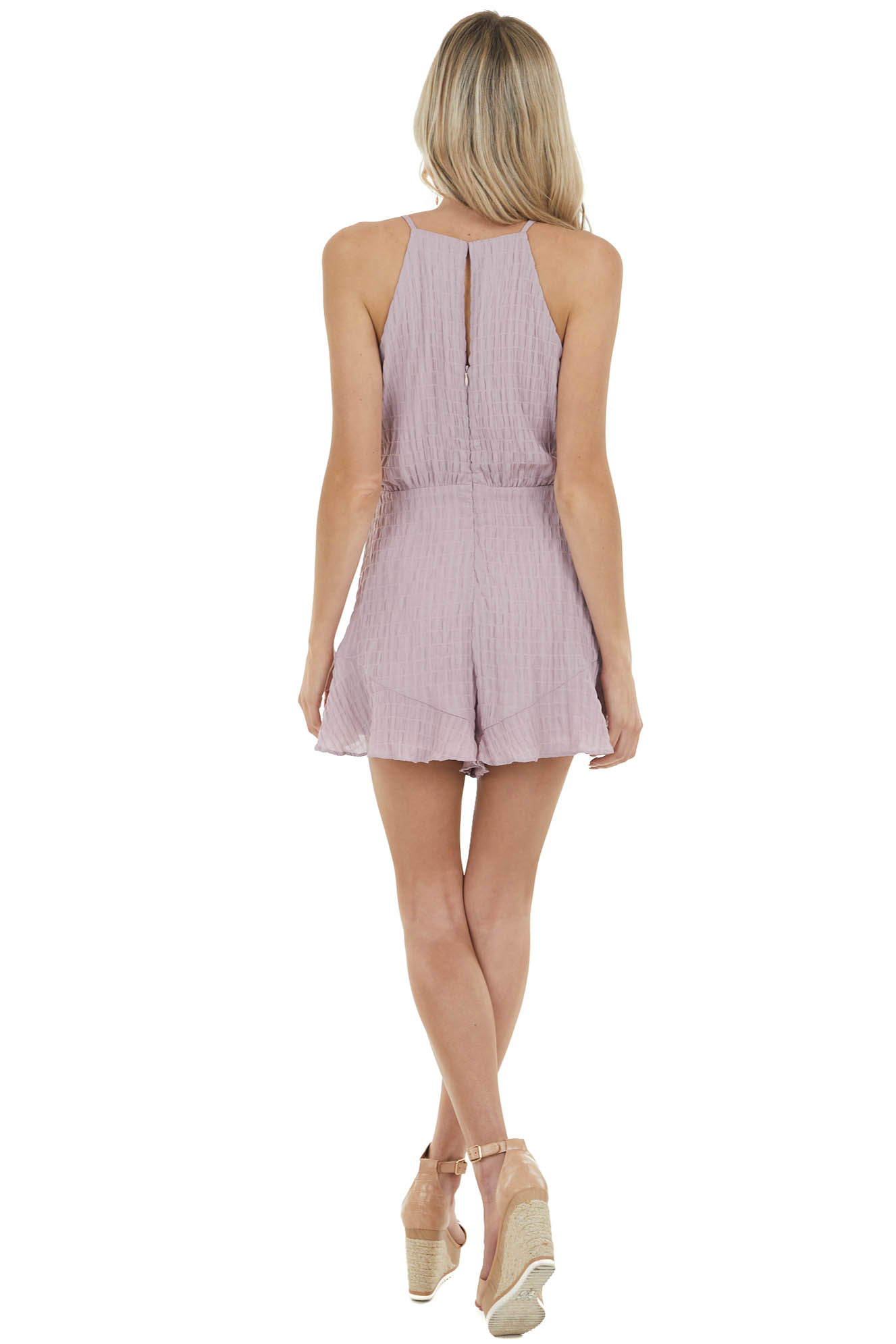 Dusty Lavender Textured Romper with Spaghetti Straps