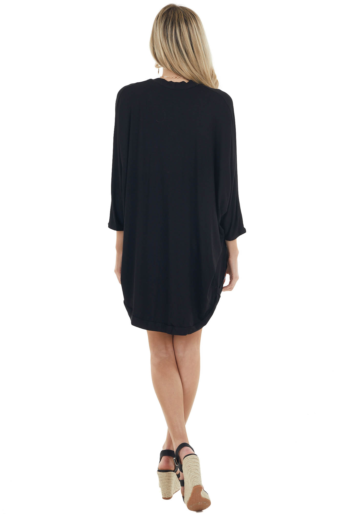 Black Open Front Cocoon Hem Cardigan with 3/4 Dolman Sleeves