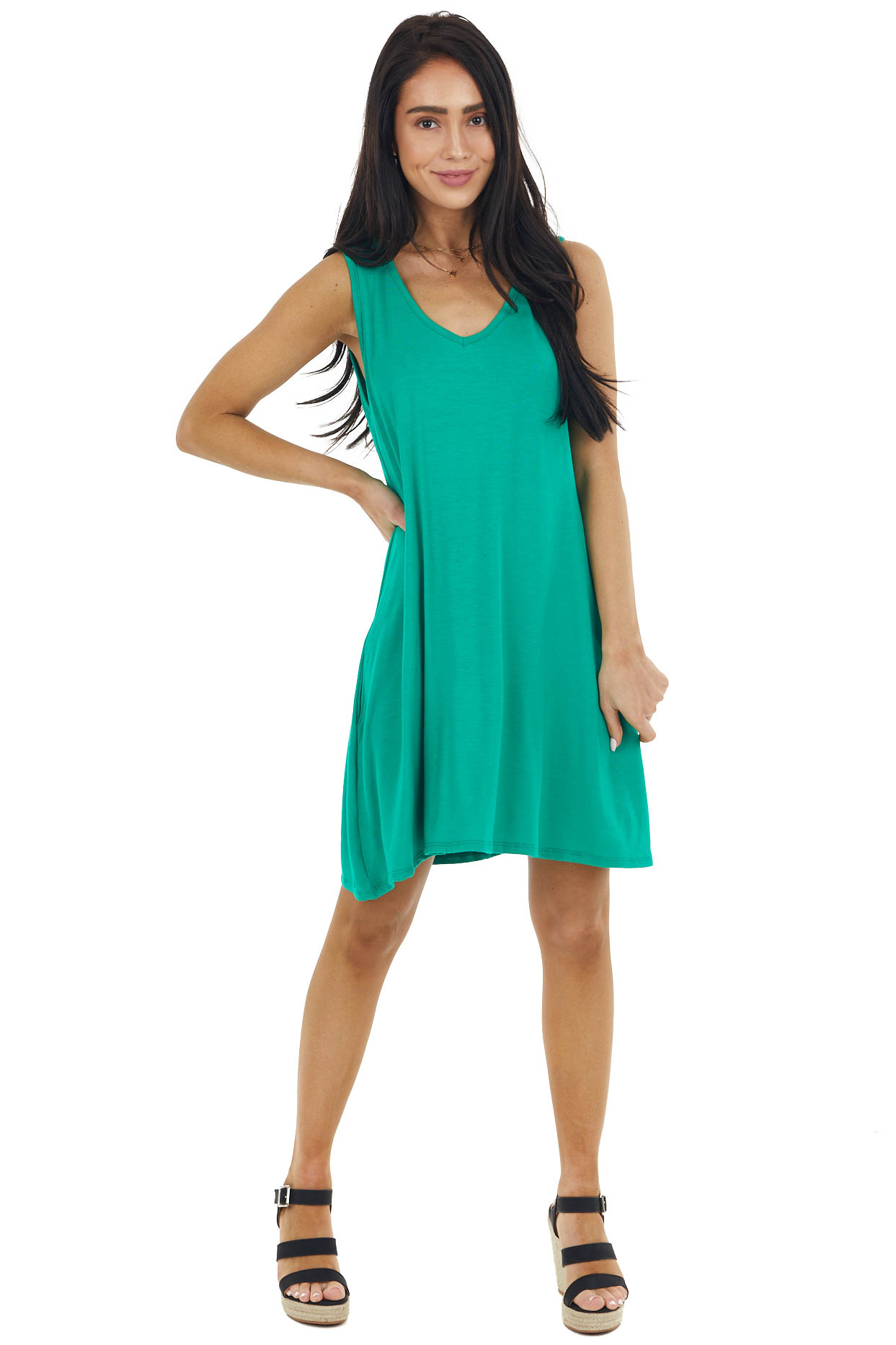Shamrock Green V Neck Sleeveless Knit Short Swing Dress