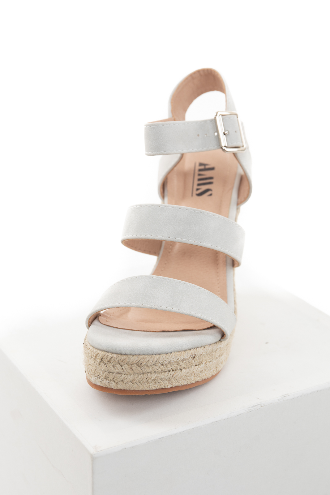 Dove Grey Strappy High Heel Espadrille Wedges with Open Toe