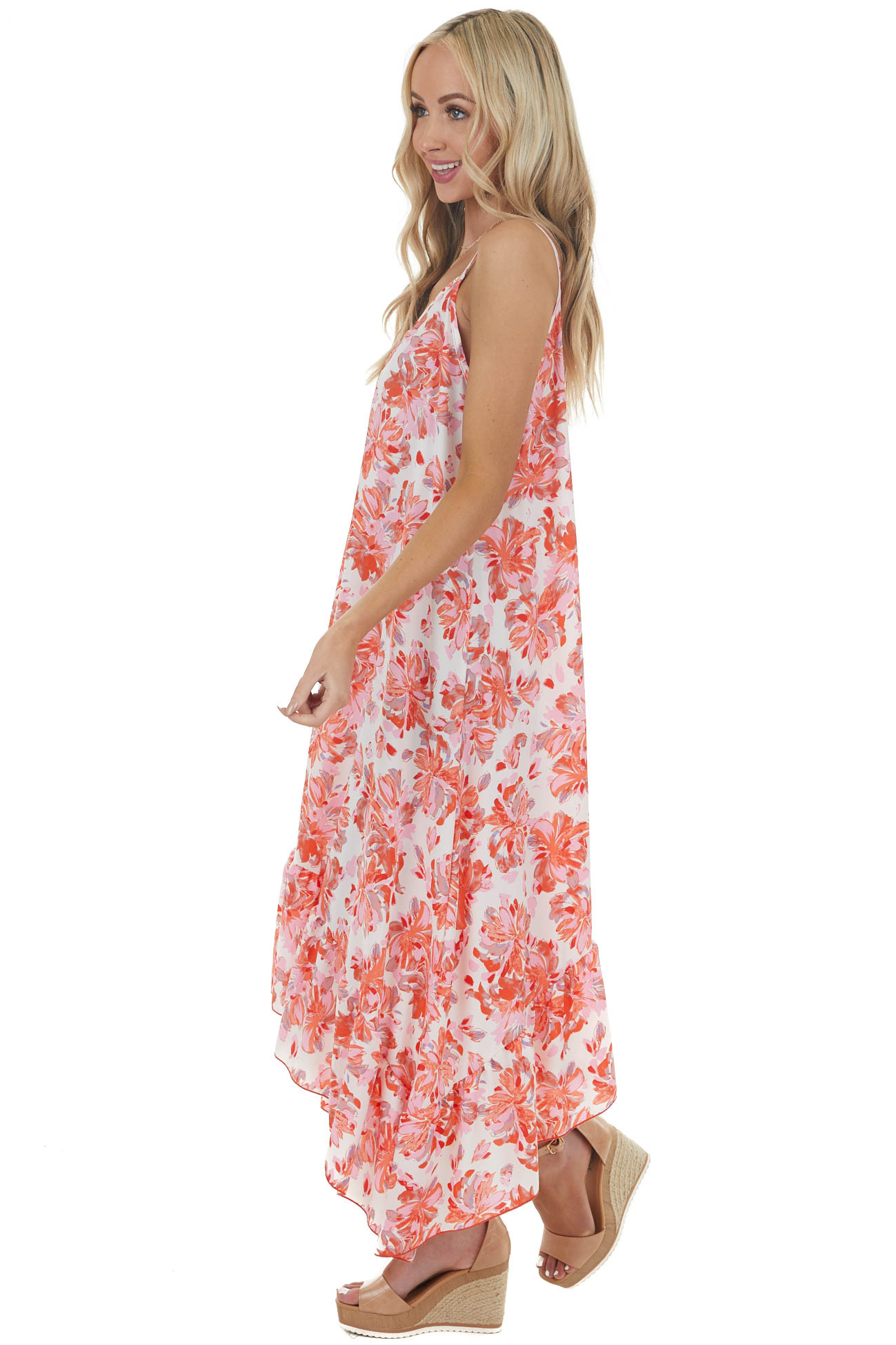 Baby Pink Floral Print Sleeveless Midi Dress with Ruffles