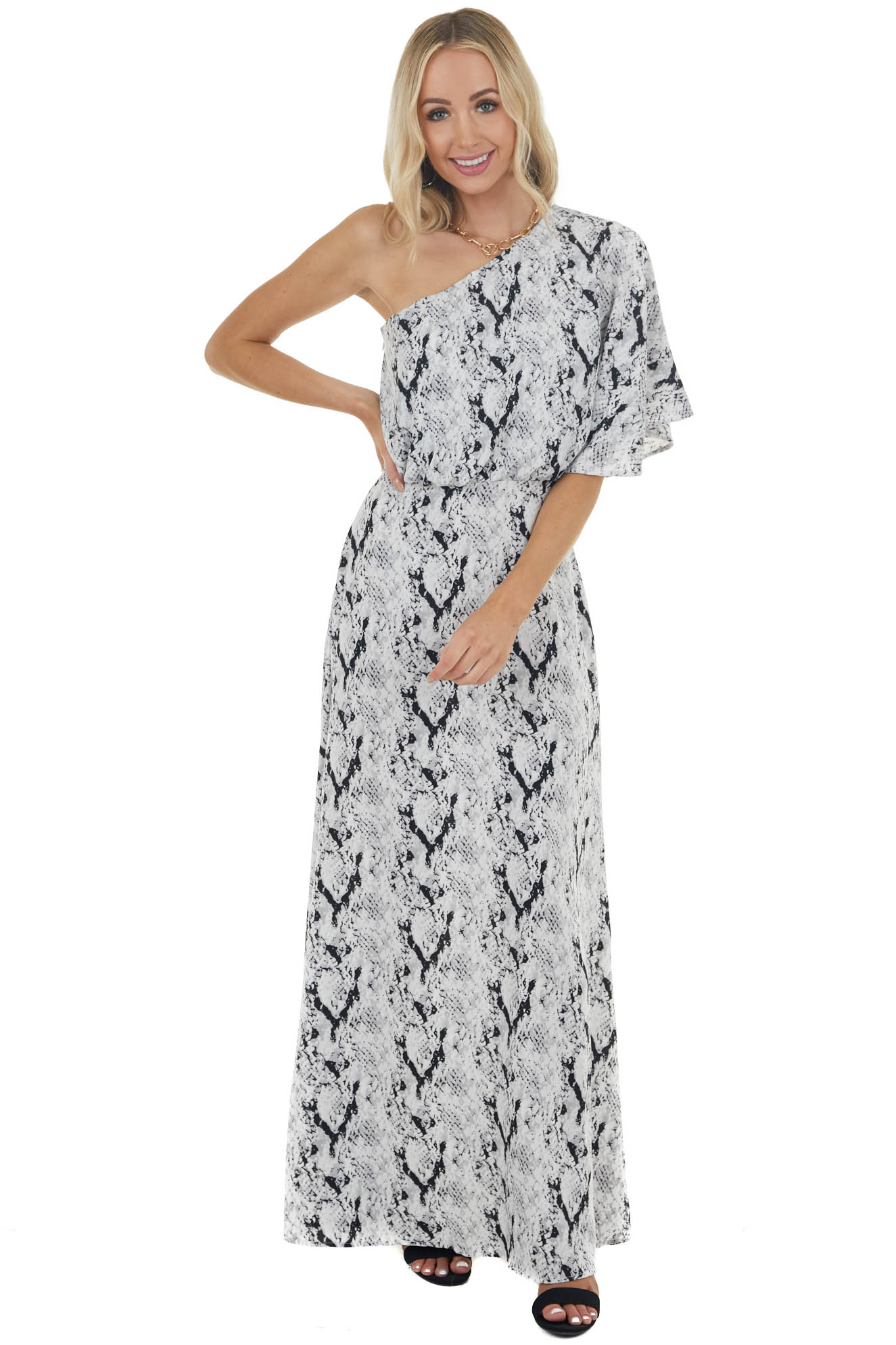 Dove Grey Snakeskin Print Woven Maxi Dress with One Shoulder