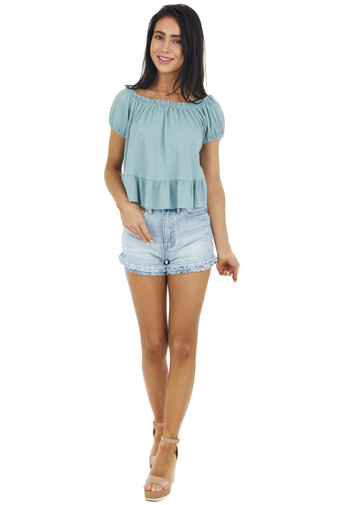 Sage Boat Neckline Ribbed Knit Crop Top with Ruffles