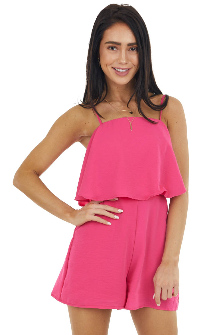 Hot Pink Spaghetti Strap Flowy Overlay Romper with Pockets