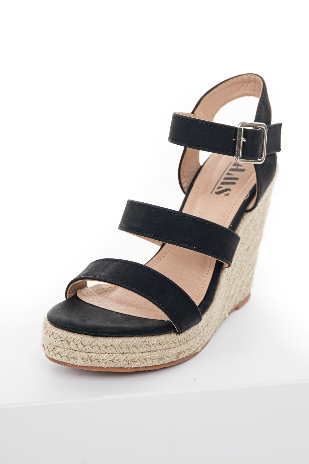 Black Strappy High Heel Espadrille Wedges with Open Toe