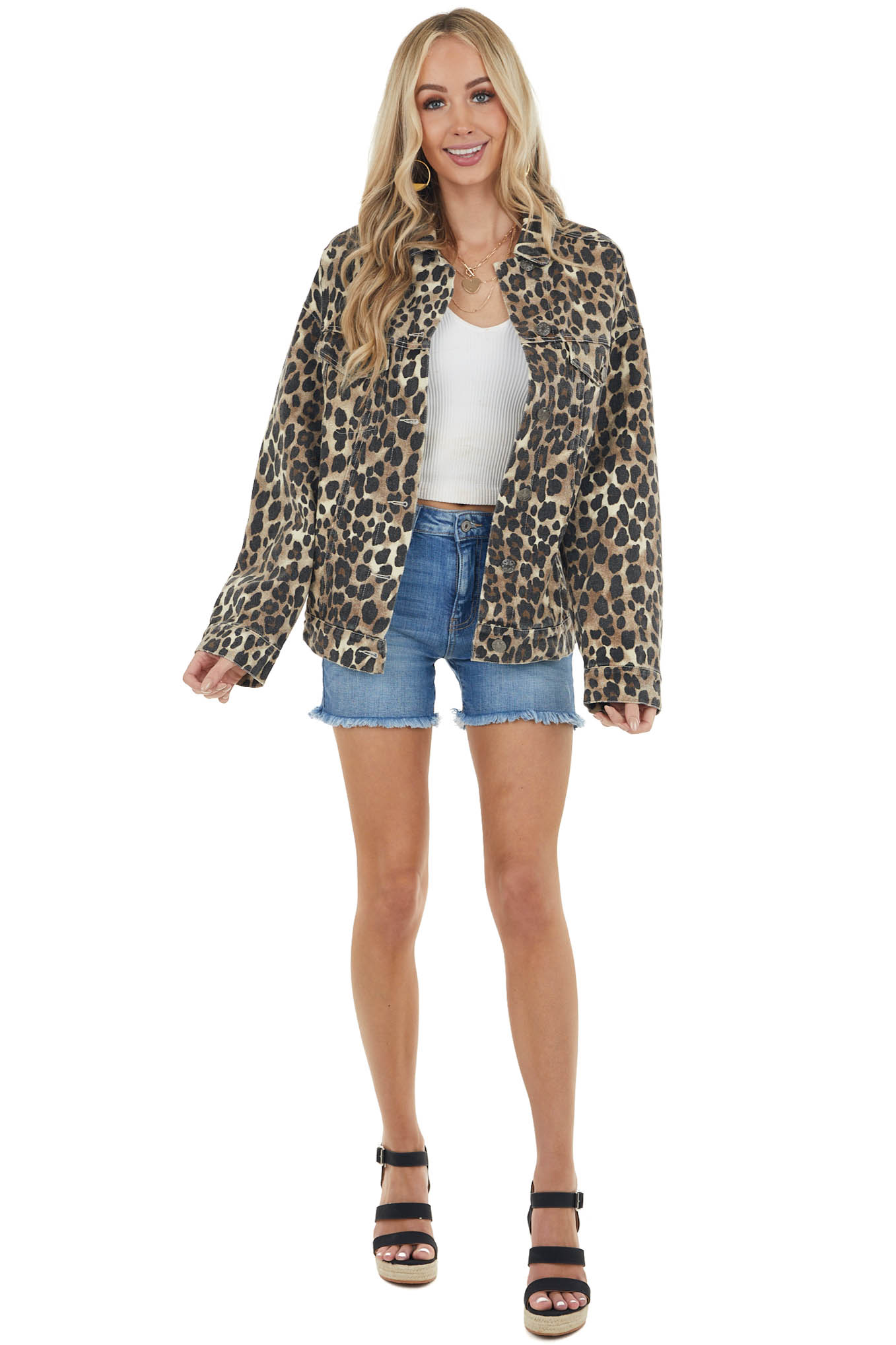 Walnut Leopard Print Button Up Jacket with Chest Pockets