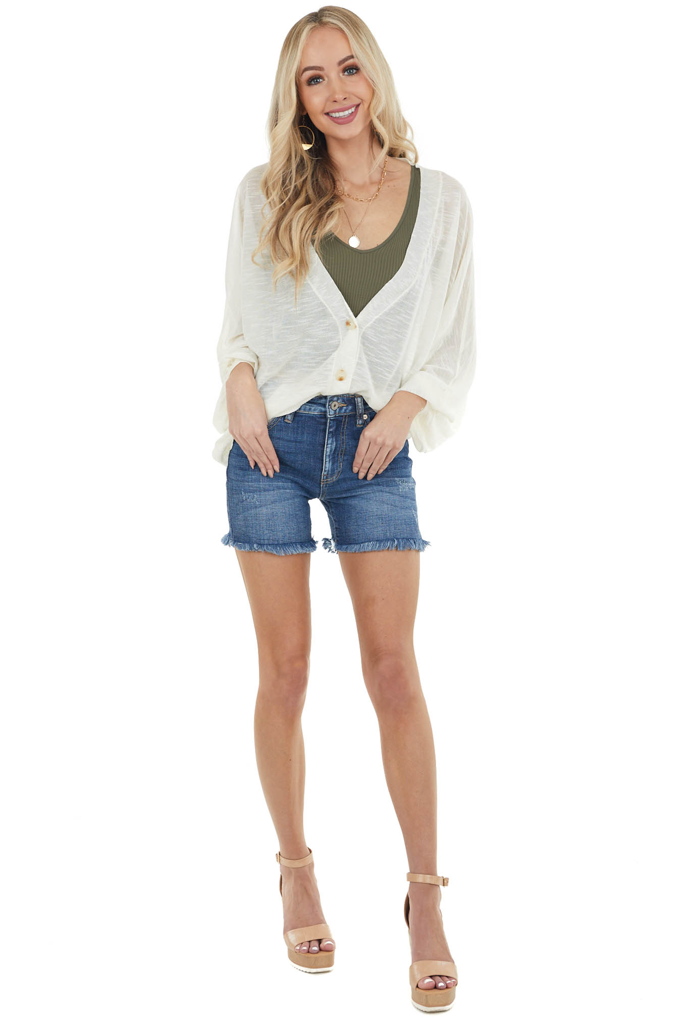 Vanilla Button Down Sheer Knit Cardigan with Dolman Sleeves