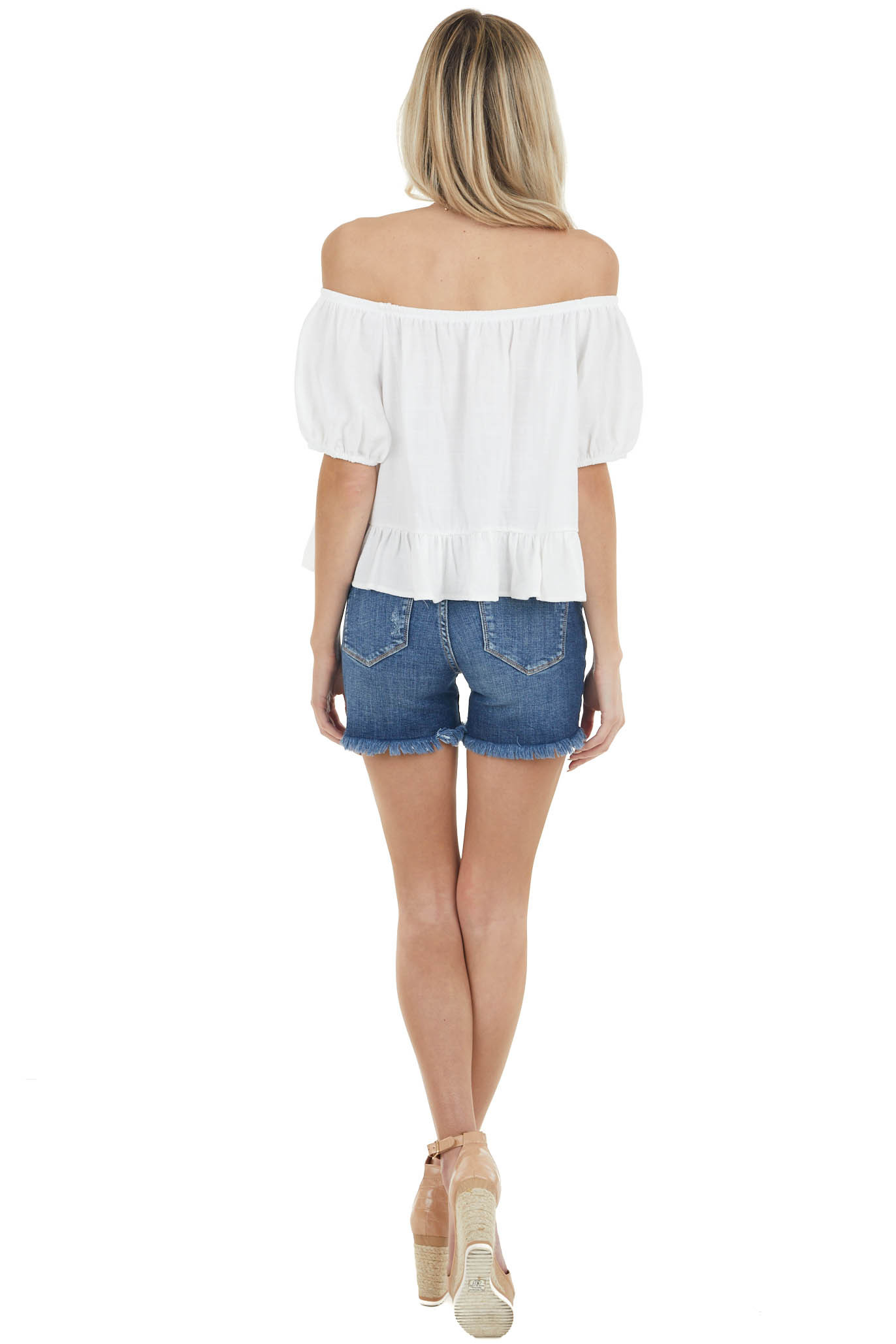 Ivory Short Puff Sleeves Woven Crop Top with Ruffle Detail