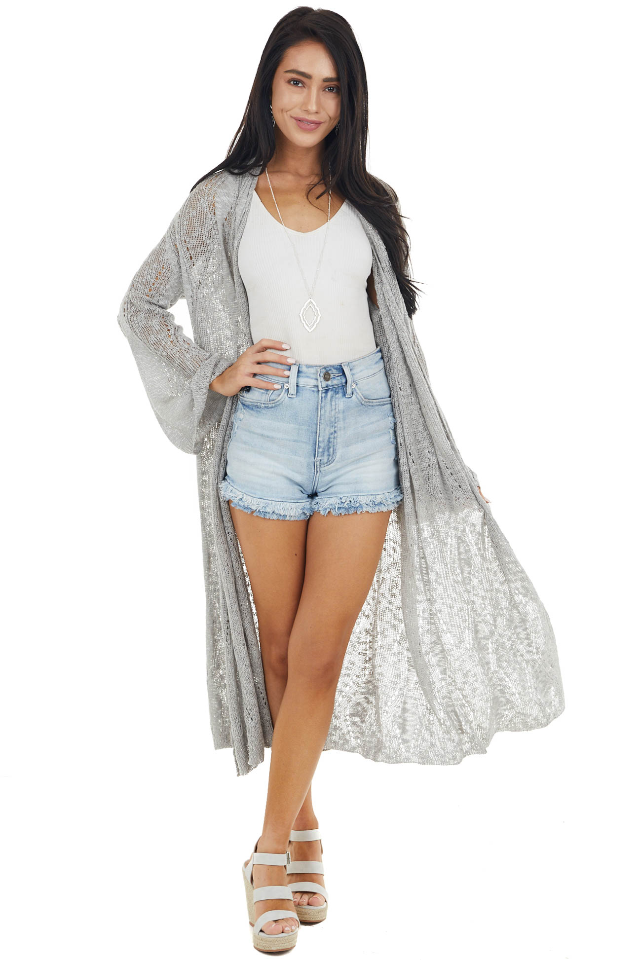Dove Grey Loose Knit Duster Cardigan with Long Bell Sleeves