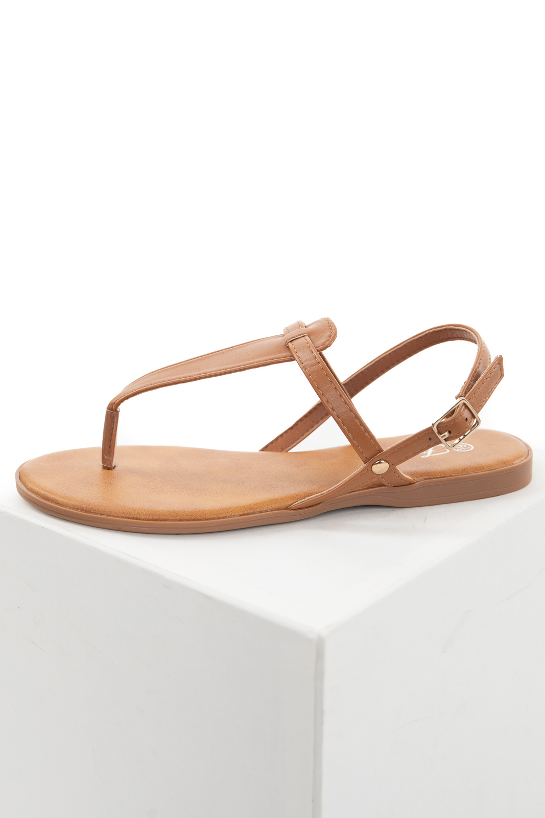 Caramel Flat Strappy Thong Sandals with Buckle Closure