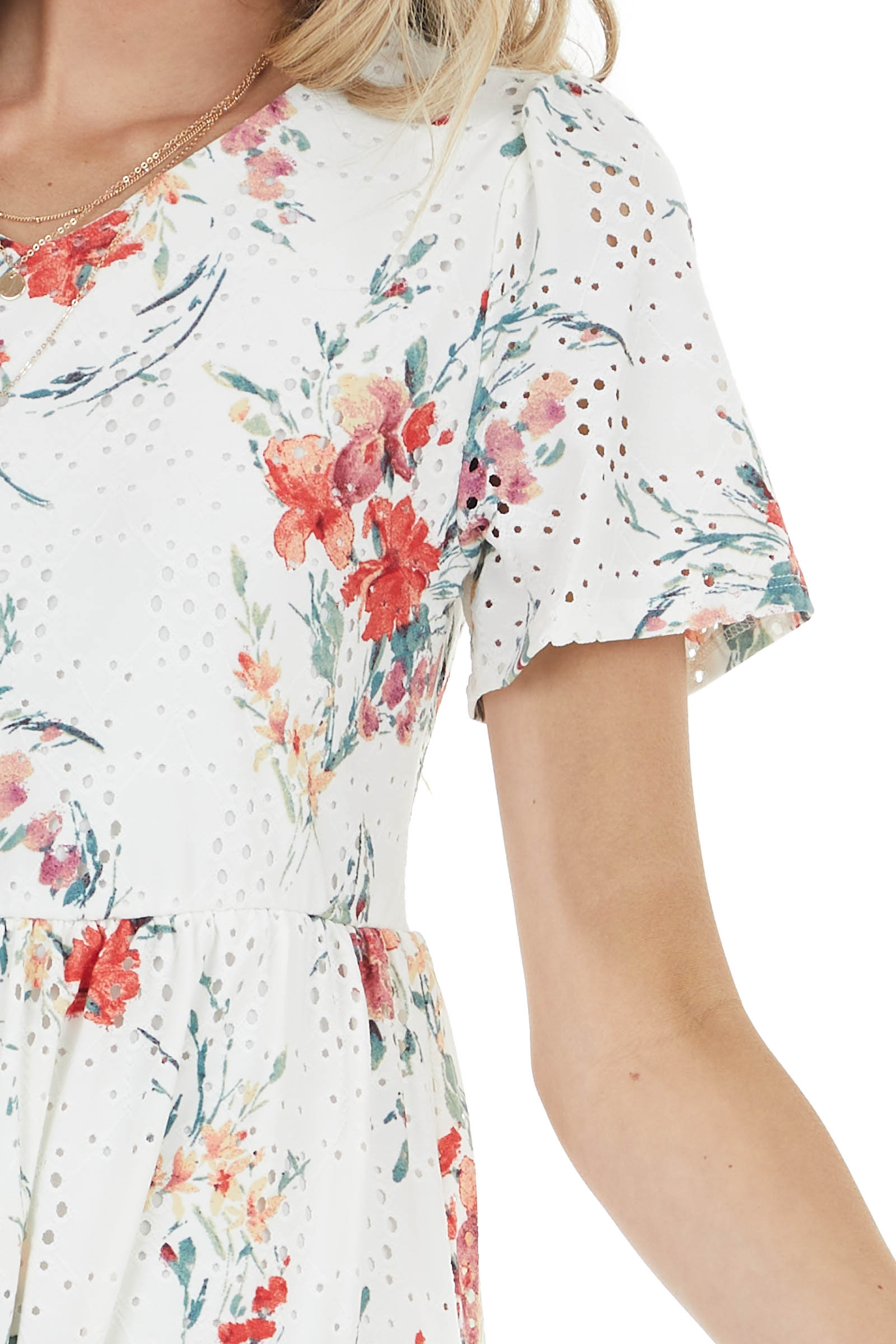Ivory Floral Print Short Dress with Eyelet Detail