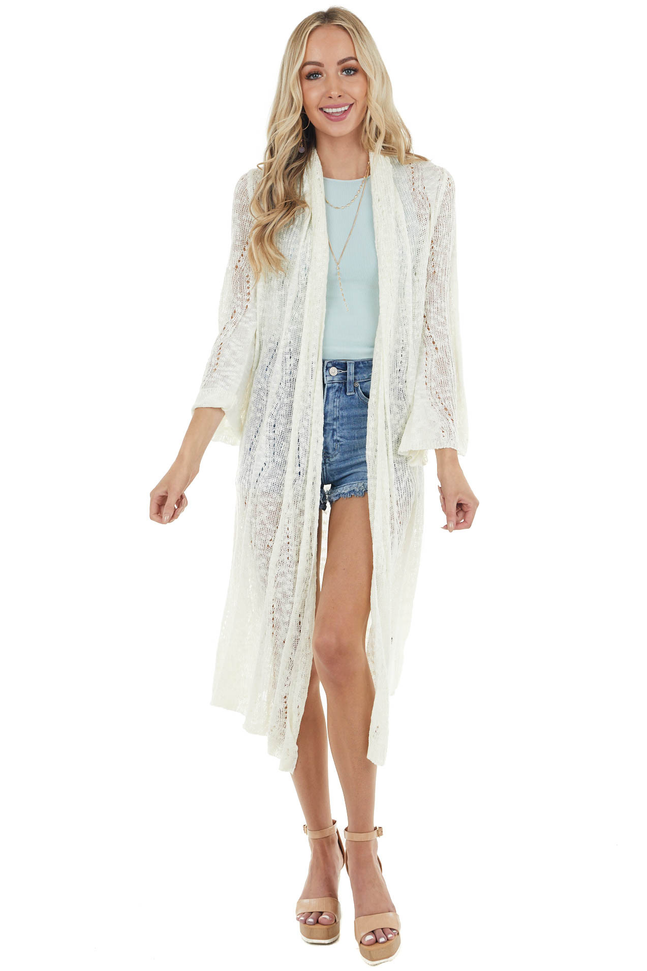 Cream Loose Knit Duster Cardigan with Long Bell Sleeves