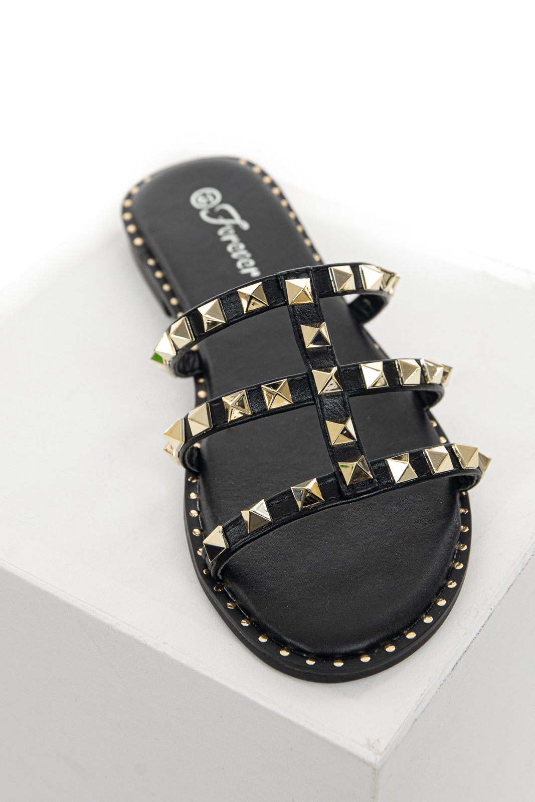 Black Low Heel Sandals with Gold Stud and Bead Details