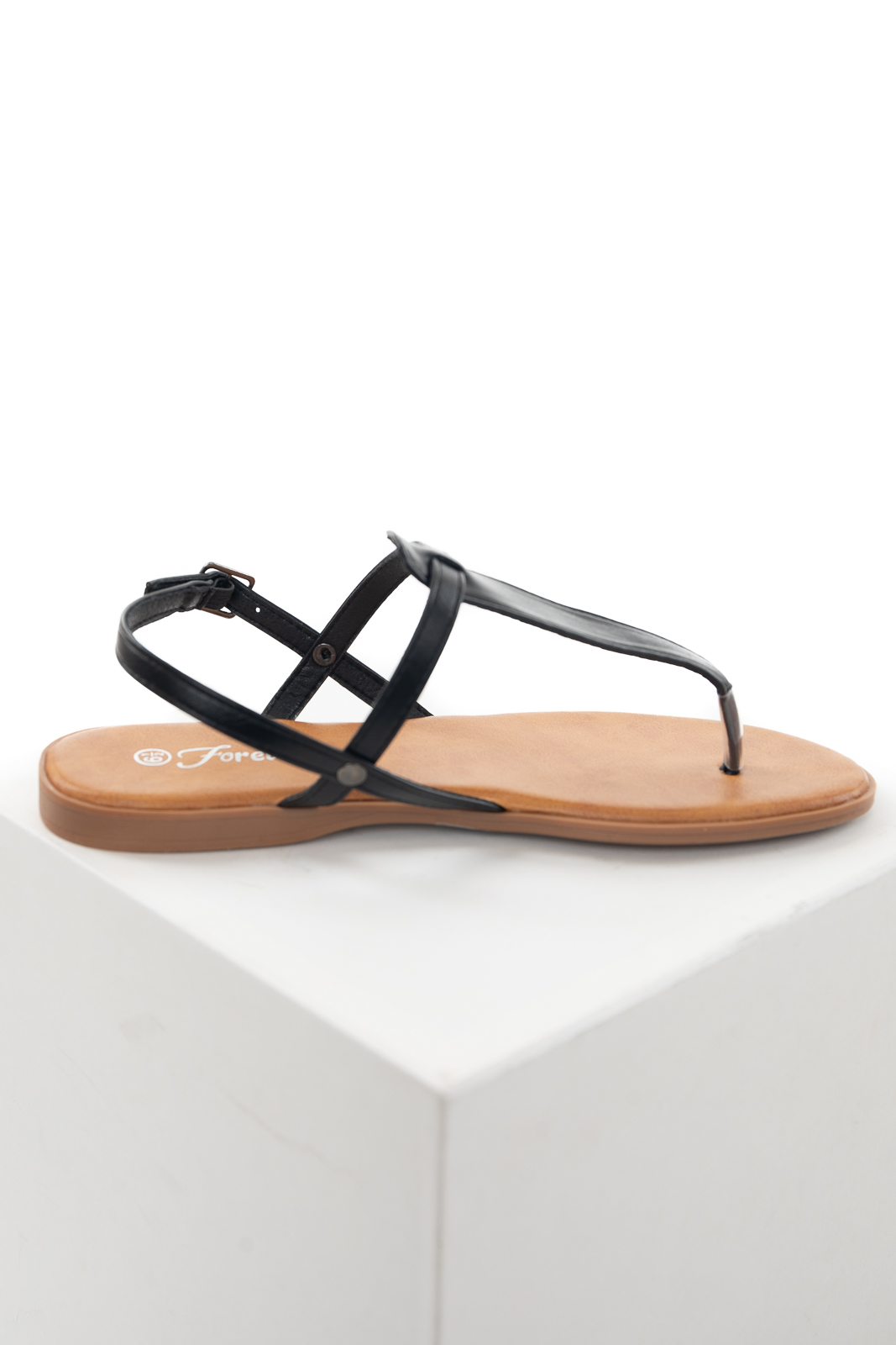 Black Flat Strappy Thong Sandals with Buckle Closure