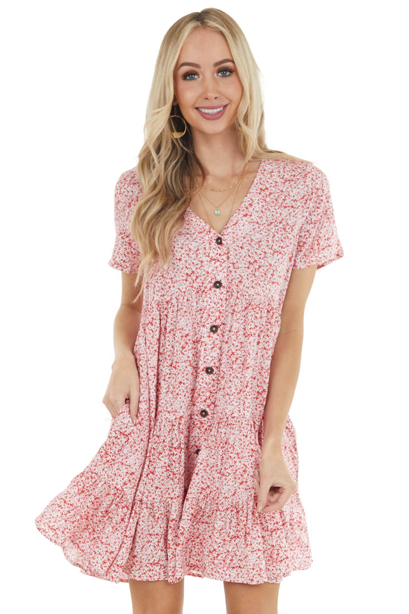 Cherry Red Ditsy Floral Buttoned Babydoll Short Sleeve Dress