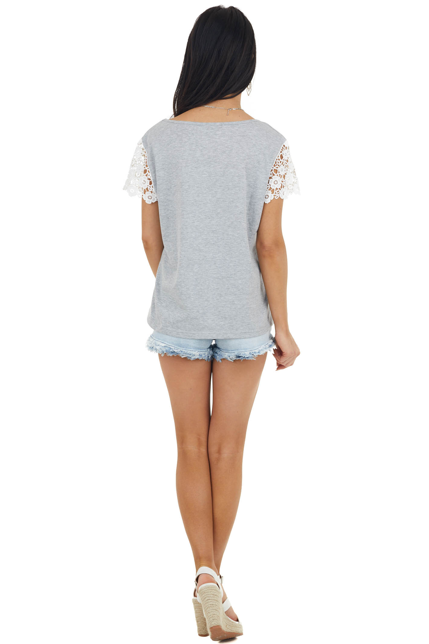 Heather Grey Top with Short White Crochet Lace Cap Sleeves