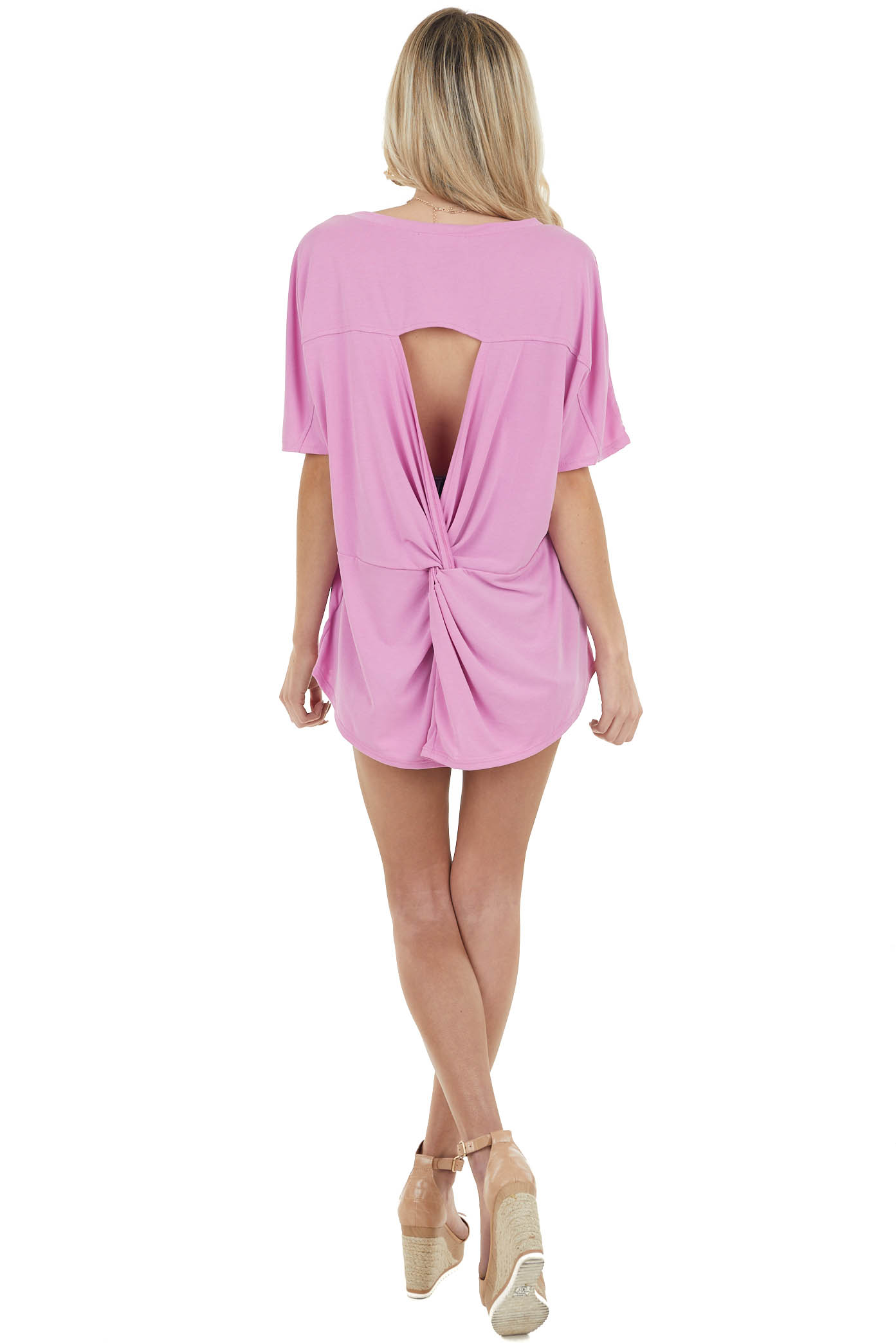 Pink Short Sleeve Soft Knit Top with Open Back Twist