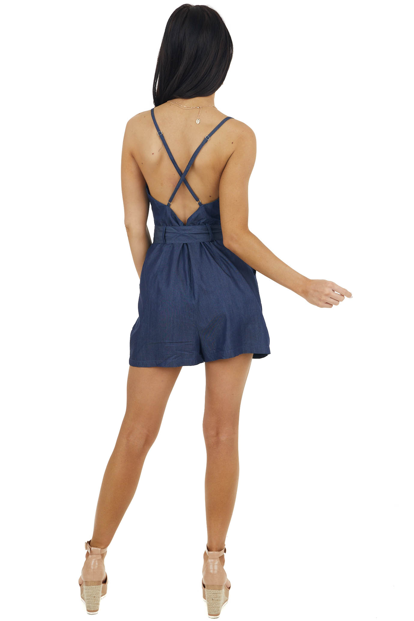 Navy Sleeveless Open Back Chambray Romper with Front Tie