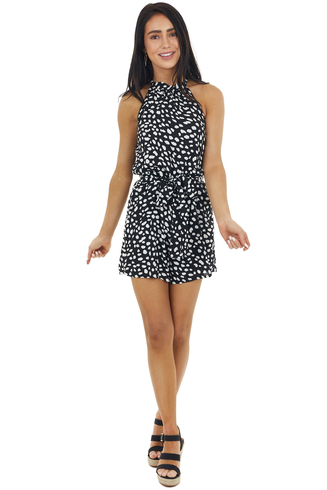 Black and White Spotted Romper with Pockets and Waist Tie