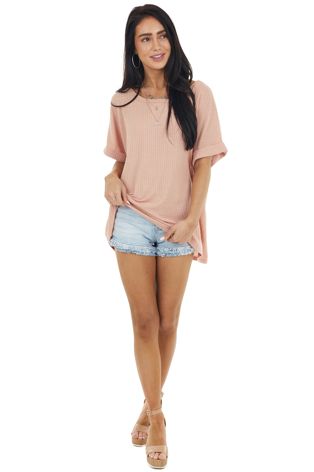 Melon Waffle Knit Oversized Top with Short Cuffed Sleeves