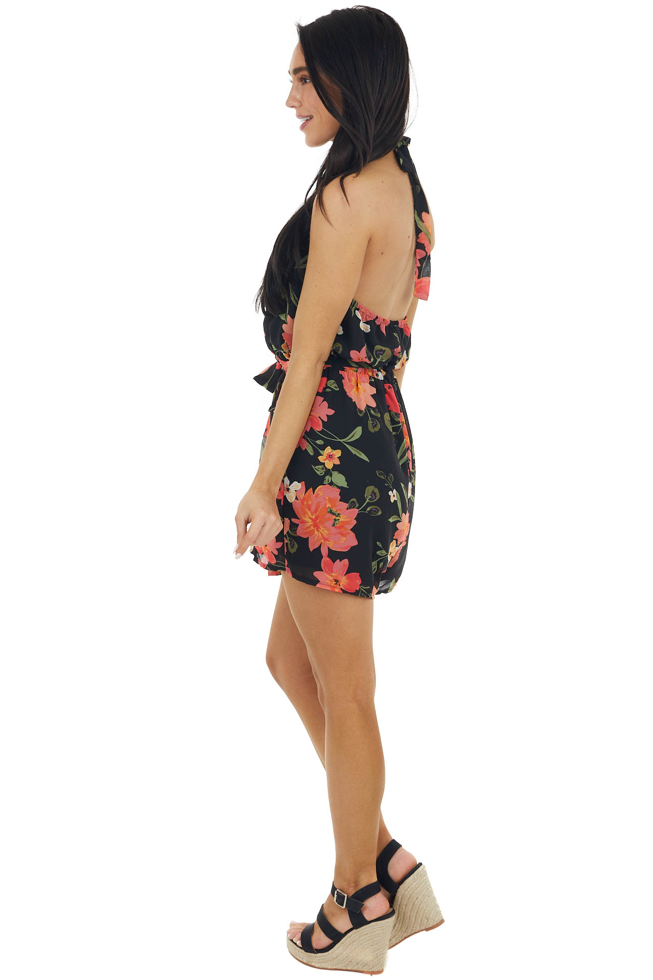 Black Floral Print Romper with Pockets and Waist Tie