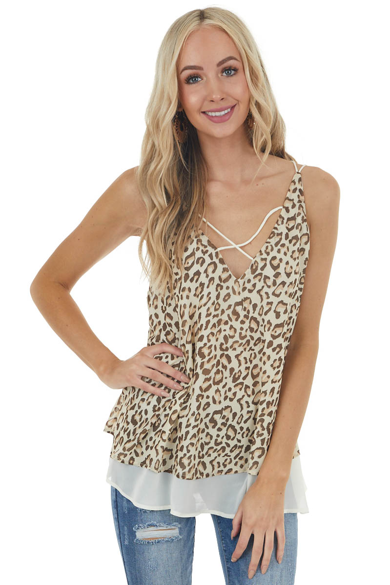 Beige Leopard Print Sleeveless Top with Criss Cross Detail