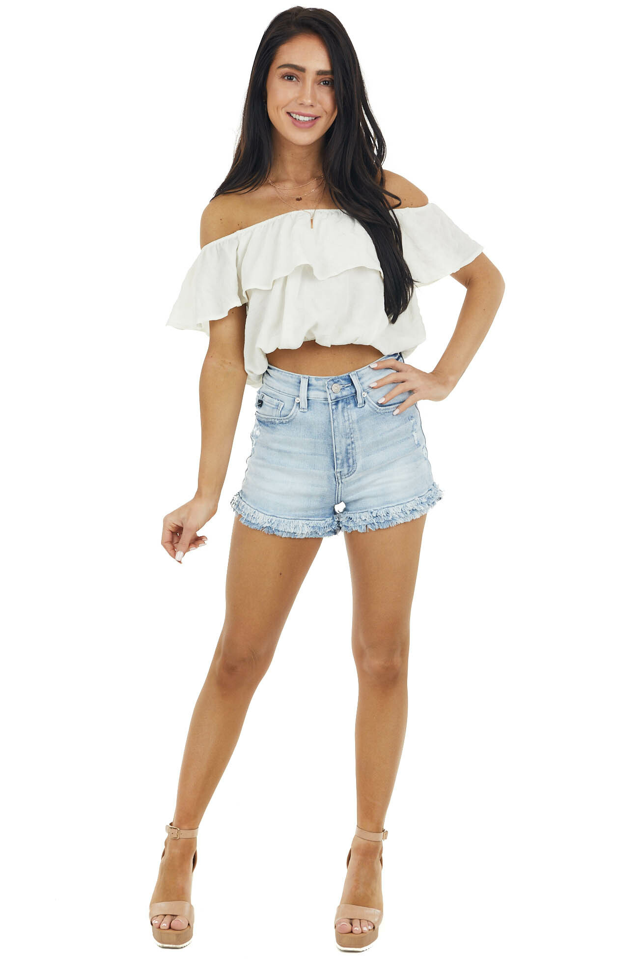 Cream Cropped Blouse with Ruffle Off The Shoulder Neckline
