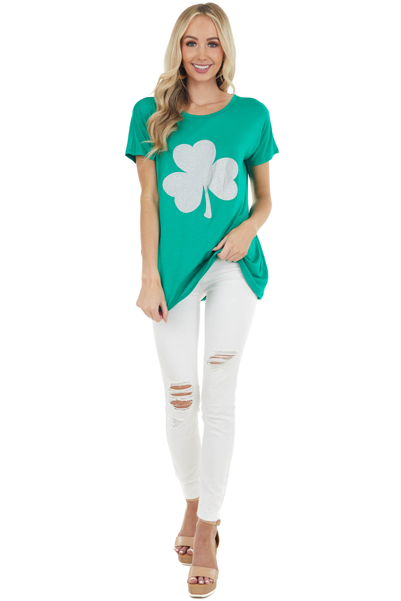 Jade Short Sleeve Knit Top with Glittery Clover Graphic