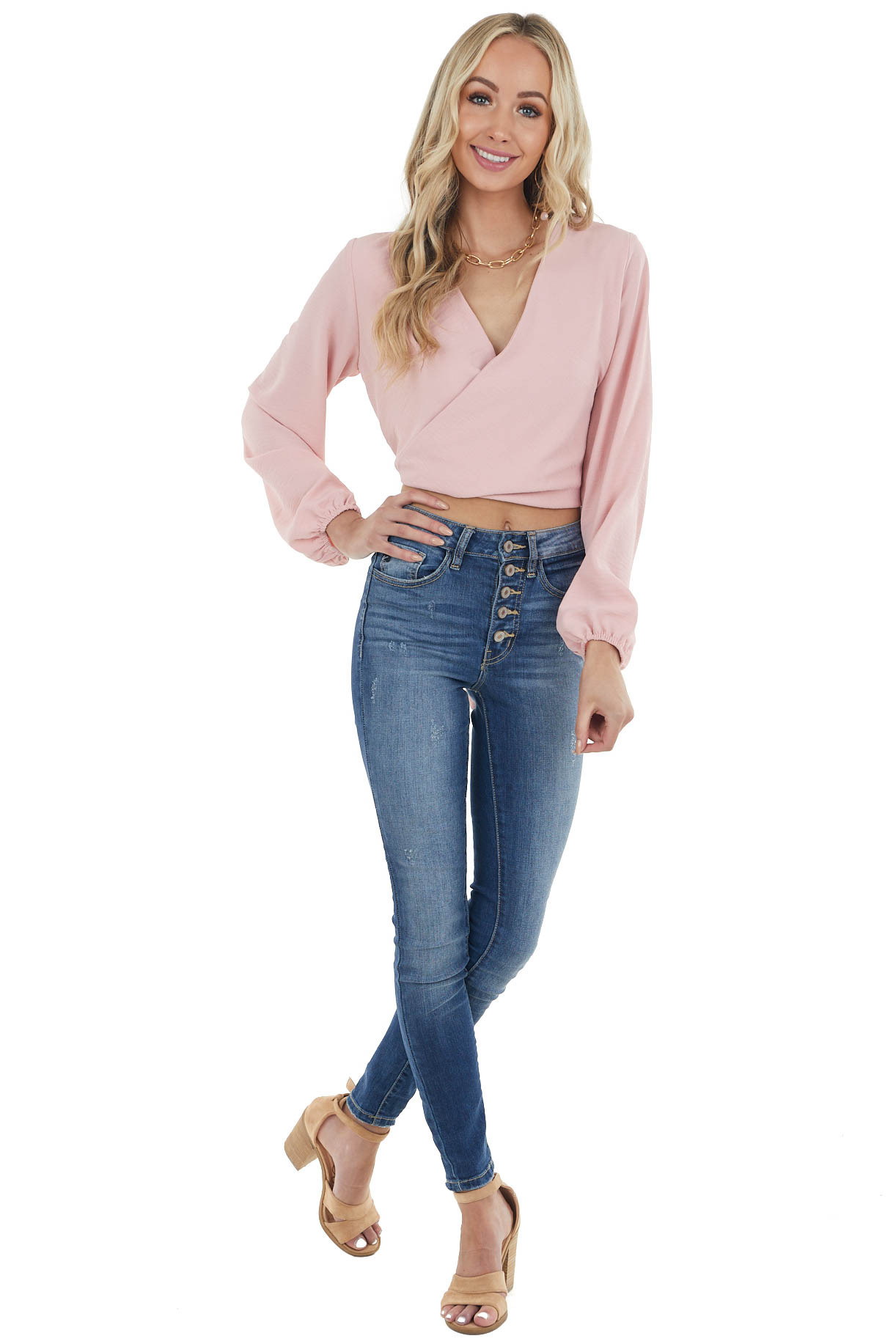 Dusty Blush Surplice Wrap Puff Sleeve Blouse with Back Tie