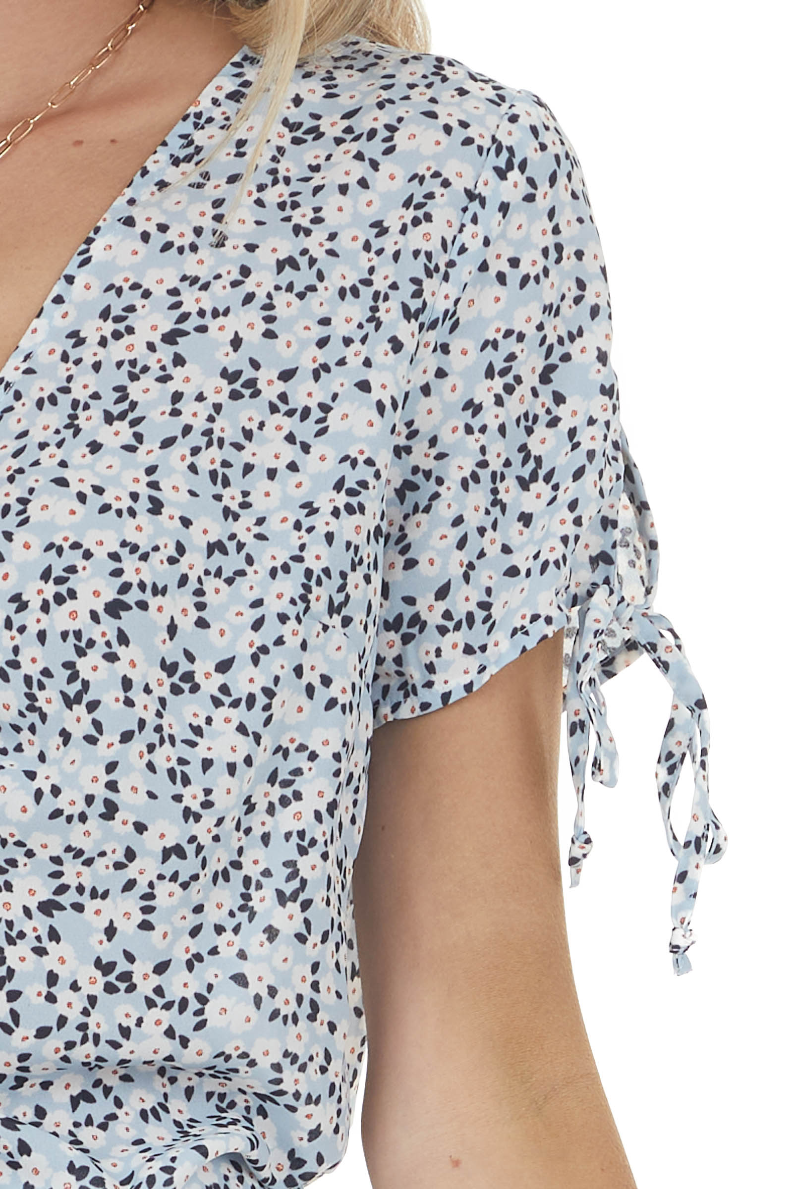 Baby Blue Ditsy Short Sleeve Blouse with Front Cinch and Tie