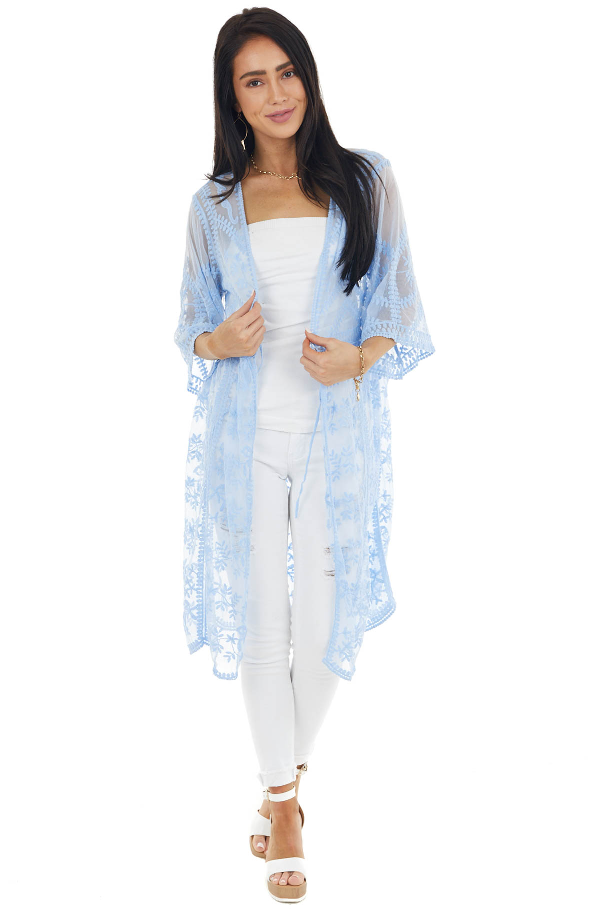 Dusty Blue Floral Lace Sheer Kimono with Front Tie Detail