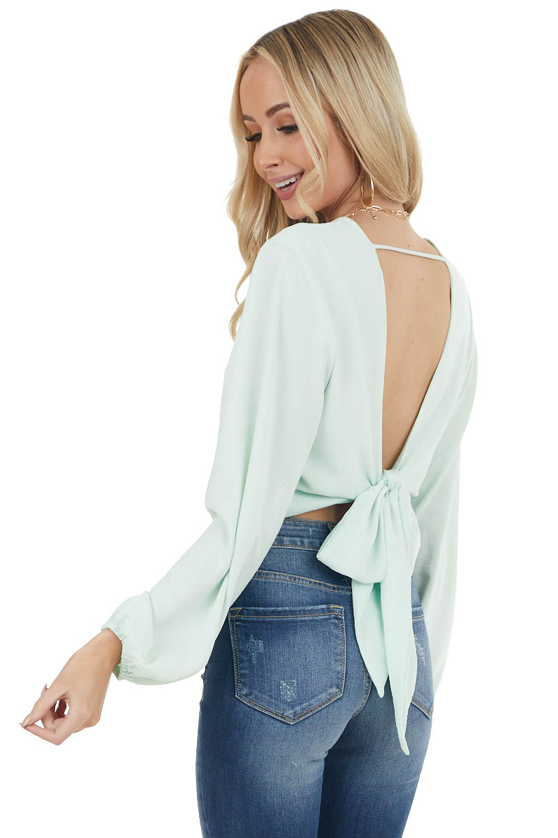 Mint Green Surplice Wrap Puff Sleeve Blouse with Back Tie