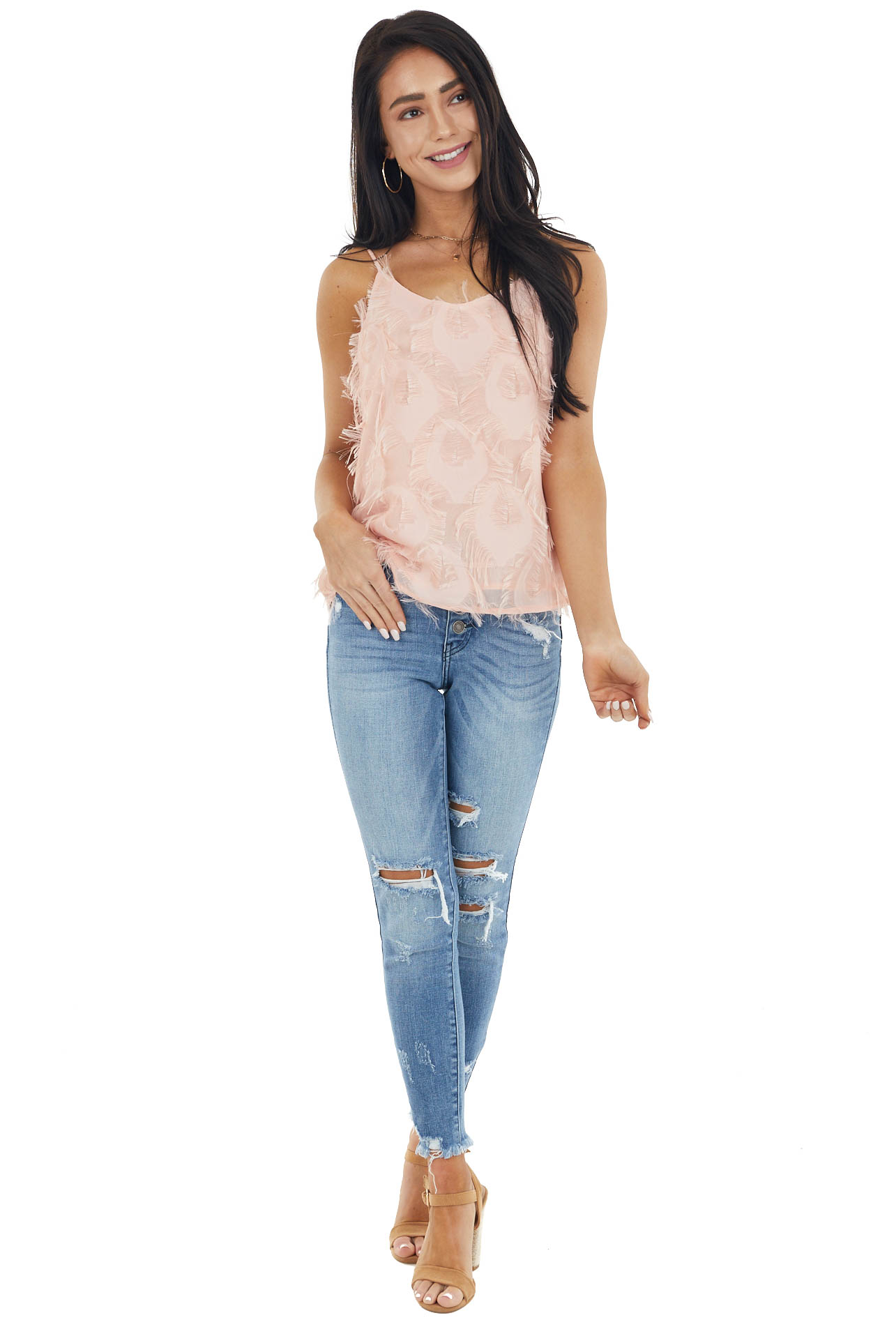 Dusty Blush Sleeveless Woven Top with Frayed Detail