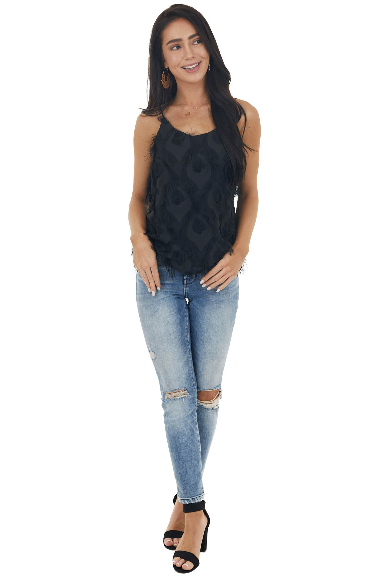 Black Sleeveless Woven Top with Frayed Detail