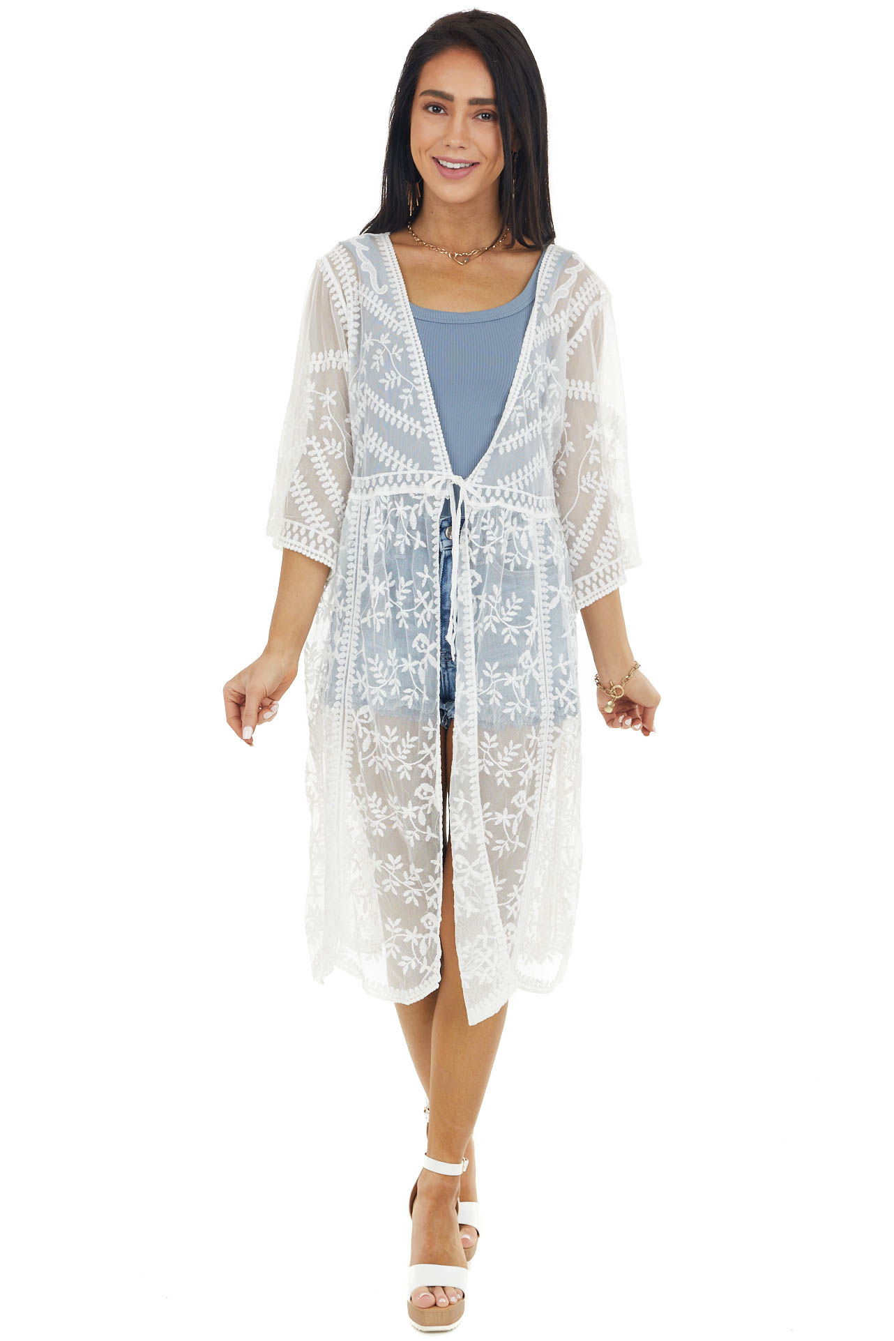 Eggshell Floral Lace Sheer Kimono with Front Tie Detail