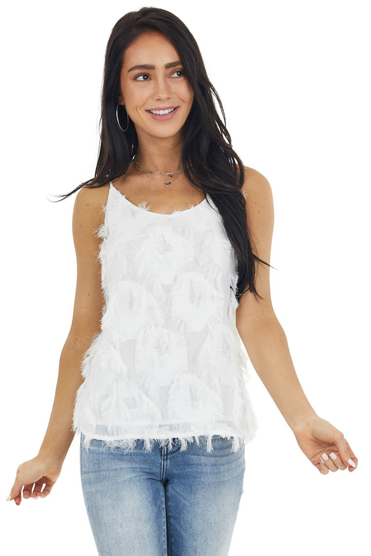 Ivory Sleeveless Woven Top with Frayed Detail