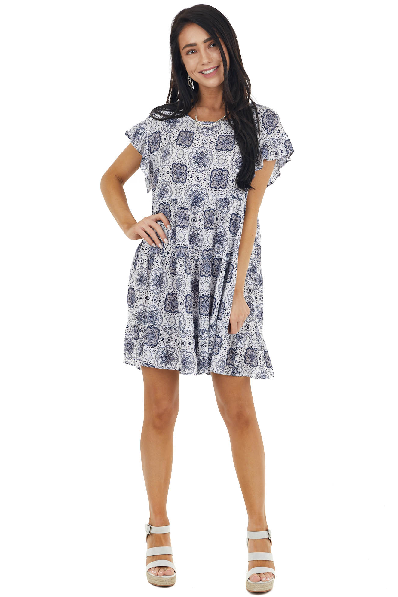 White and Navy Abstract Print Babydoll Dress with Ruffles