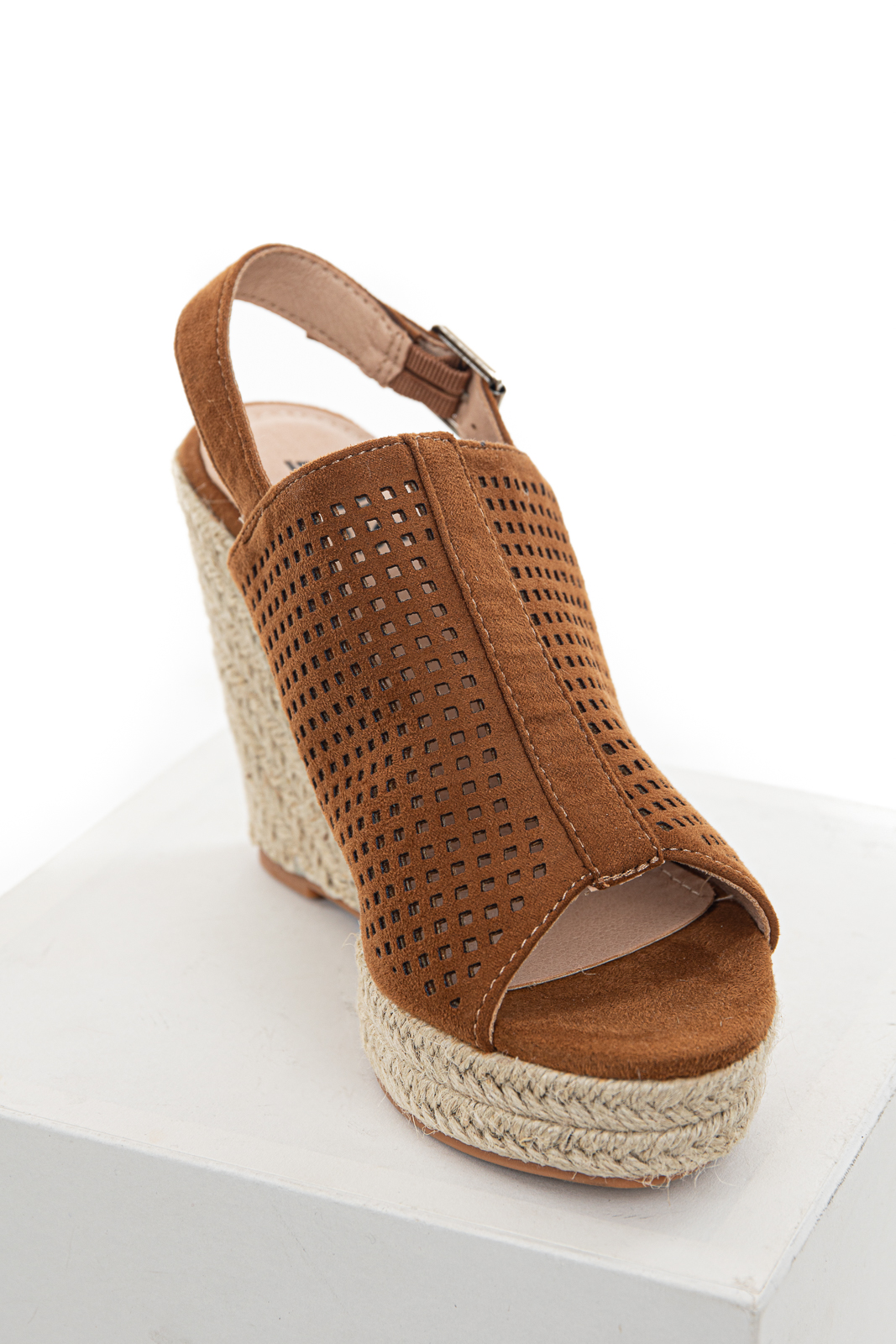 Cognac Square Laser Cut Out Espadrille Sling Back Wedges