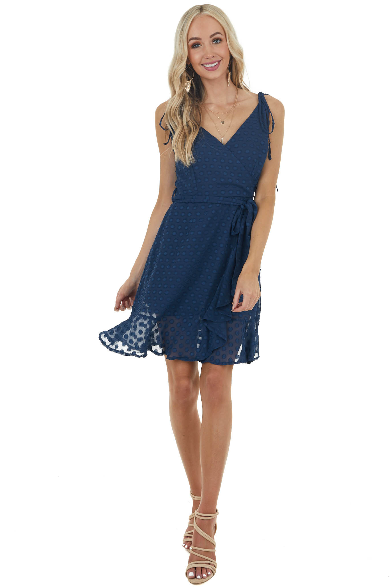 Navy Textured Dots Surplice Short Dress with Ruffled Detail