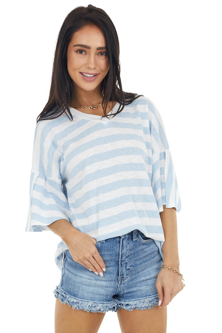 Powder Blue and Eggshell Striped Short Sleeve V Neck Top