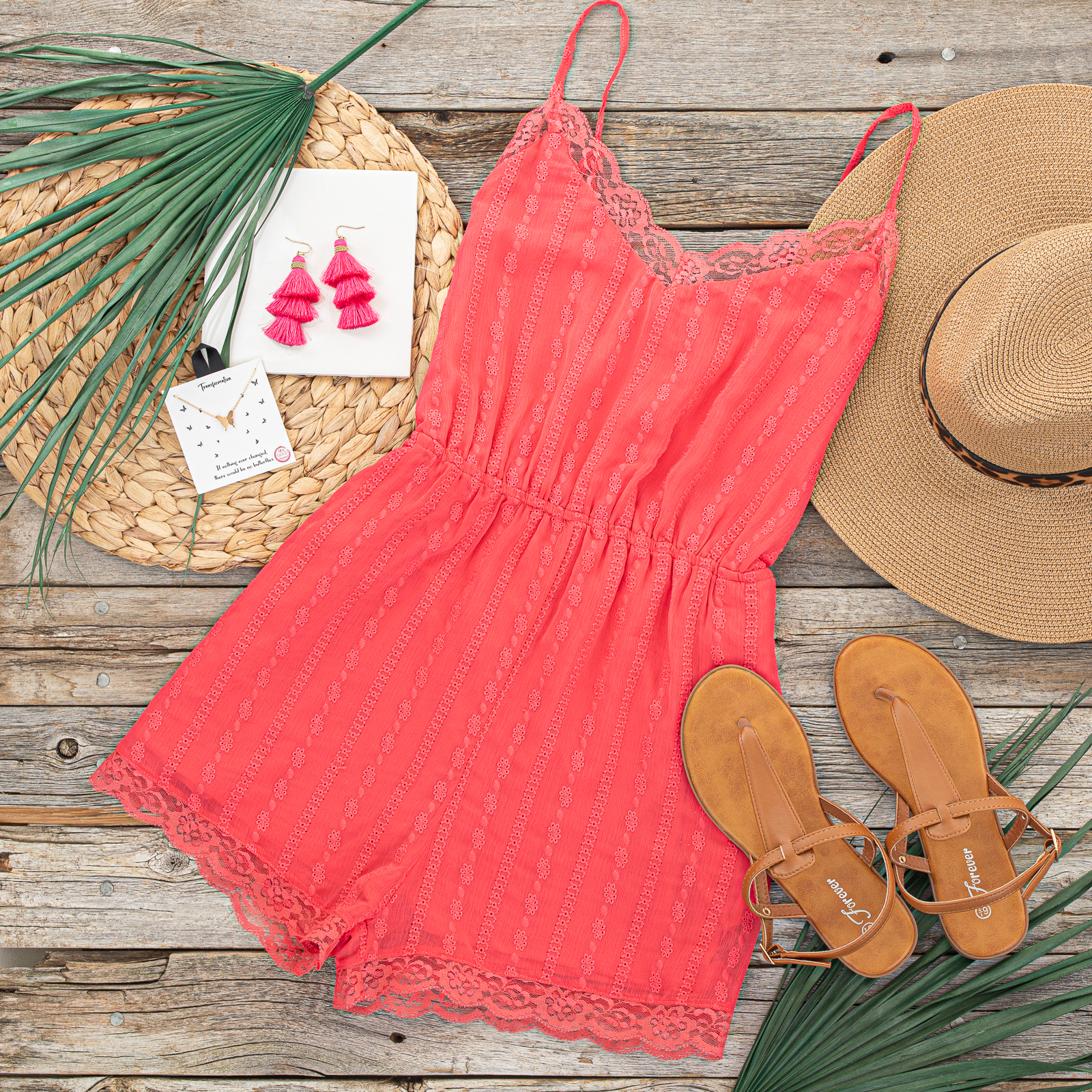 Rich Punch Sleeveless Open Back Romper with Lace Details